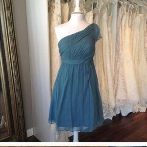 Jenny Yoo Chiffon Dress Turkish Blue Sz 8